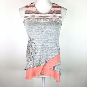 Desigual Maisel Tank Top Gray Pink Floral